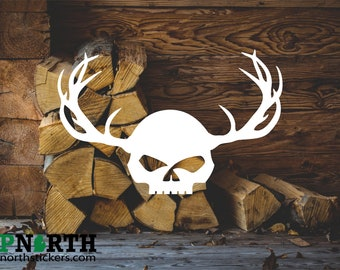 Skull with Antlers - Custom Vinyl Decal - Multiple Sizes and Colors - Free Shipping