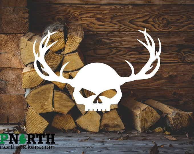 Skull with Antlers - Custom Vinyl Decal - Free Shipping