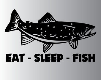 Fishing - Eat Sleep Fish - Vinyl Decal - Multiple Sizes and Colors - Personalize for FREE