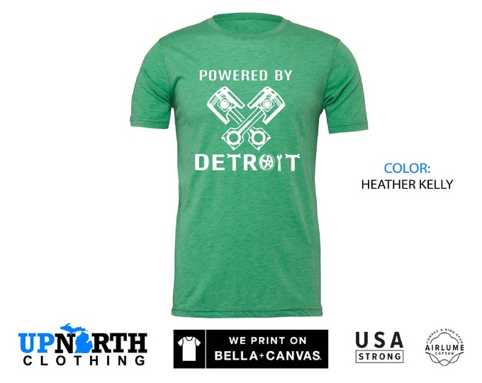 UpNorth Tee - Powered by Detroit - Detroit Muscle  - Motor City Shirt -  Detroit Michigan Shirt - Free Shipping