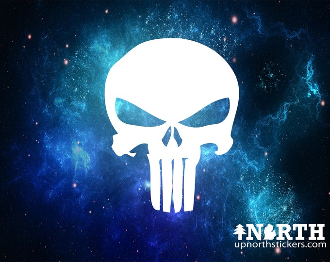 Skull (Punisher Style) - Custom Wall or Vehicle Vinyl Decal - Multiple Sizes and Colors - Free Shipping