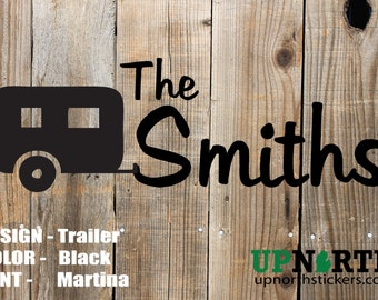 Personalized Family Name Decal - Trailer - Camper - Vinyl Custom Decal