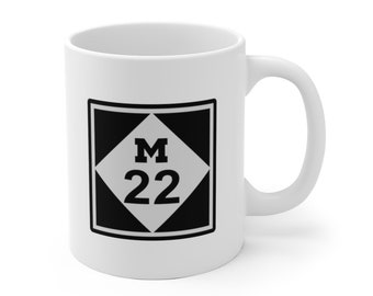 Ceramic Mug - M22 - Michigan Roads and Highways - Coffee Cup