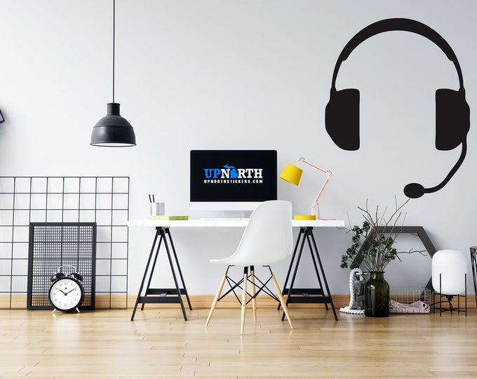 Gamer Headphones - Custom Vinyl Wall or Vehicle Decal - Custom Vinyl Decal - Free Shipping