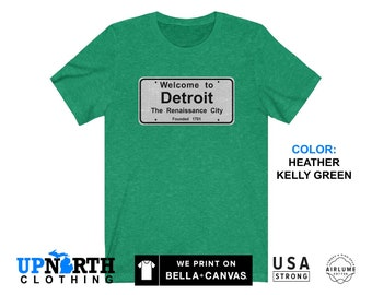 UpNorth Tee - Welcome to Detroit Sign - Vintage Style - Detroit Michigan Shirt - Free Shipping