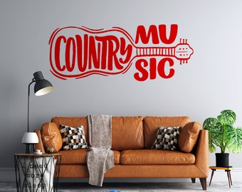 Country Music - Guitar - Custom Vinyl Wall Decal - Free Shipping