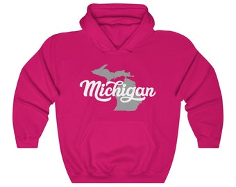 Hooded Sweatshirt - Michigan Cursive Text (gray/white)
