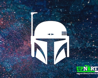 Bounty Hunter - Mandolorian - Boba Fett Helment  -  Vinyl Wall or Vehicle Decal - FREE PERSONALIZATION