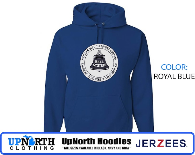 UpNorth Hoodies - Michigan Bell - Vintage Michigan - Hooded Pullover Sweatshirt - Tall Sizes Available