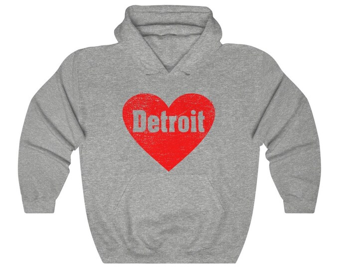 UpNorth Hoodies - Love Detroit Heart - Detroit Michigan - Vintage Print