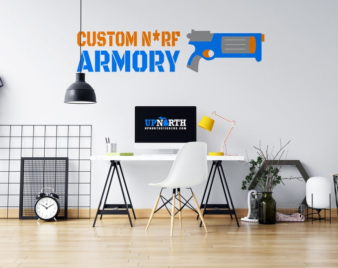 Foam Dart Gun with Custom Text / Name - Vinyl Wall Decal - Multiple Sizes and Colors - Personalize for Free - Free Shipping
