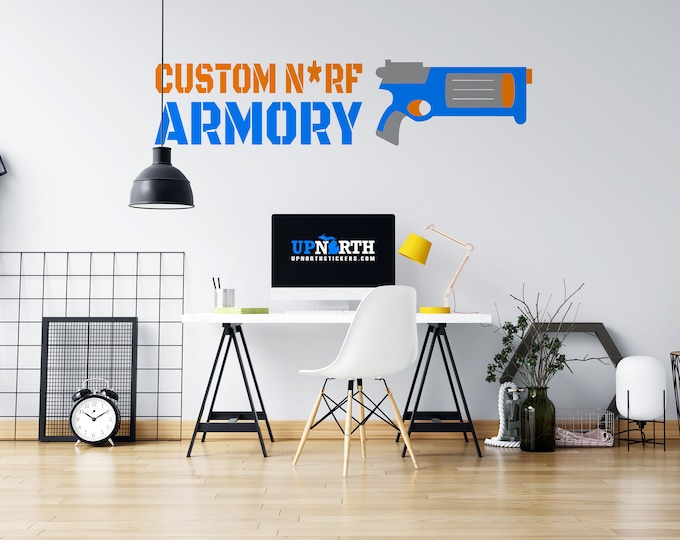 Revolver - Foam Dart Gun with Name - Personalized Vinyl Wall Decal - Free Shipping