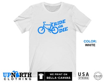 UpNorth Tee - Bicycle - Ride or Die (Vintage Blue Print) T-Shirt - Free Shipping
