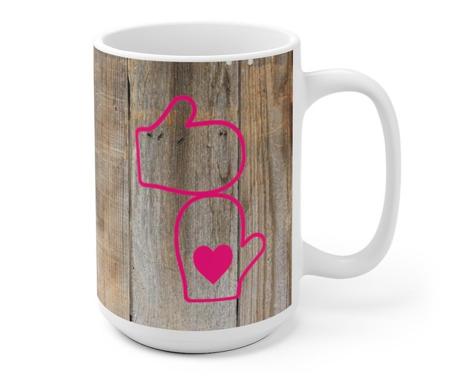 Ceramic Mug - Mittens with Heart (pink) - 11 oz or 15 oz