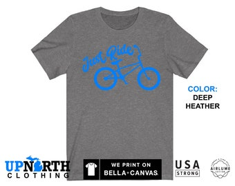 UpNorth Tee - Bicycle - BMX Just Ride (Blue Print) T-Shirt - Free Shipping