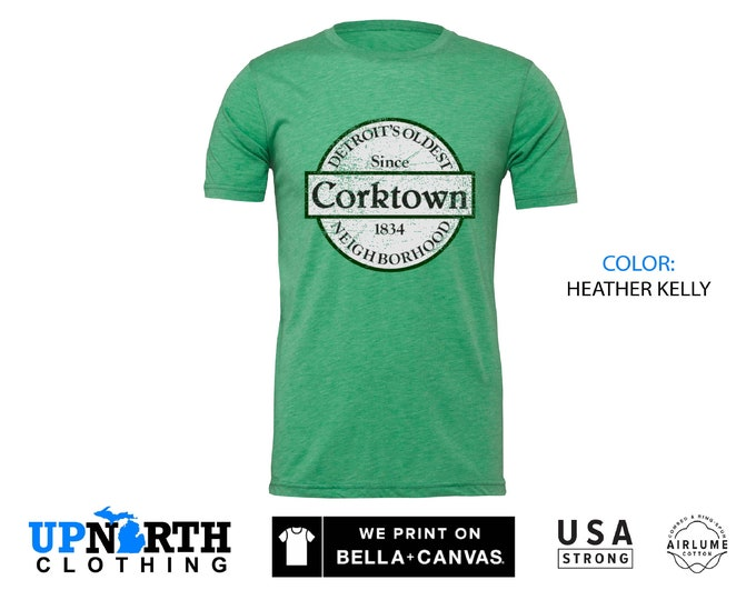 UpNorth Tee - Corktown Detroit (Standard Print) Detroit Michigan Shirt - Corktown Sign - Free Shipping