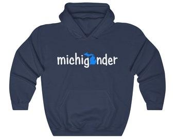 Hooded Sweatshirt - Michigander (blue/white)
