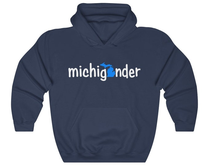 Hooded Sweatshirt - Michigander (blue/white)