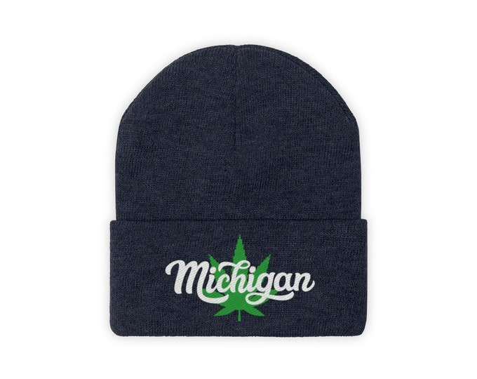 Embroidered Knit Hat - Michigan Marijuana (white)