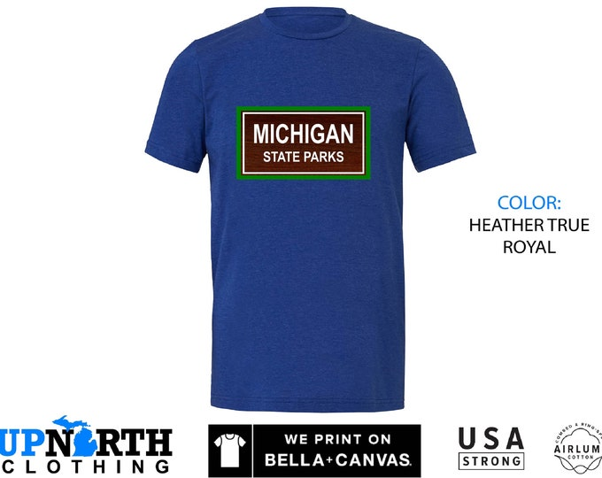 UpNorth Tee - MICHIGAN State Parks - Michigan State Park Shirt - Michigan Camping T-Shirt - Free SHipping