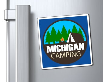 Magnets - Michigan Camping (circle) - 3 SIZES