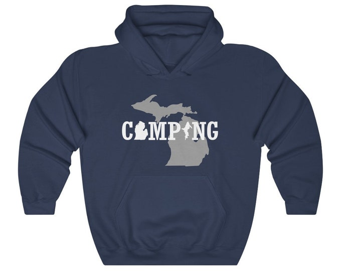 Hooded Sweatshirt - Michigan Camping (gray/white)