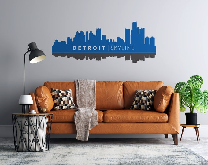 Detroit Skyline Reflection - 2 Color Vinyl Wall Decal - Multiple Sizes and Colors - Personalize Free