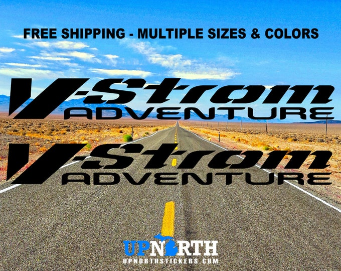 V-STROM Adventure - 2 Decal Set - Custom Vinyl Decals - Multiple Colors and Sizes - Free Shipping - Suzuki Vstrom