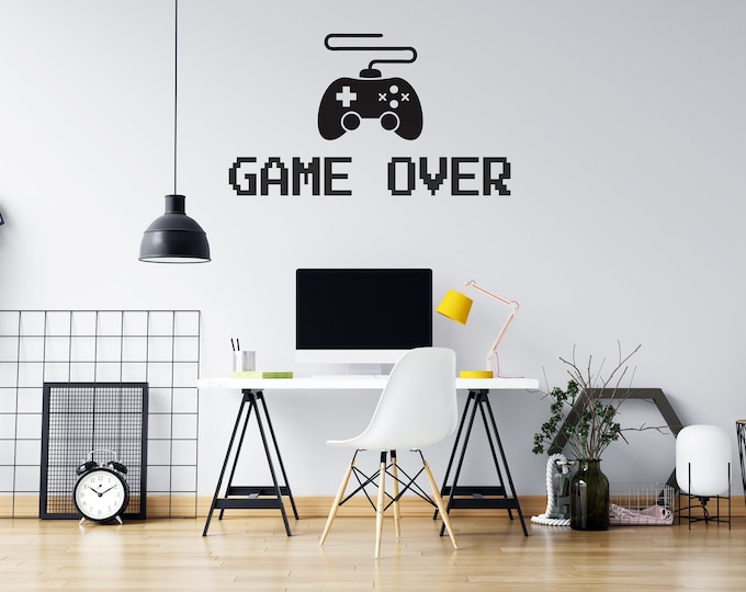 Gamer - Game Over - Game Controller - Vinyl Wall Decal - Strong Michigan Roots - Multiple Sizes and Colors - Free Customization