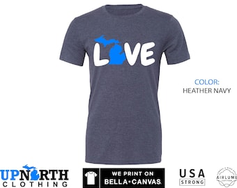 UpNorth Tee - Michigan LOVE - Great Lakes State - Mitten State - Free Shipping