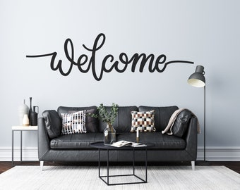 Welcome - Cursive Text - Custom Vinyl Wall Decal - Multiple Sizes and Colors - Personalize for Free - Free Shipping