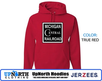 UpNorth Hoodie - Michigan Central Railroad - Defunct Companies - Hooded Pullover Sweatshirt - Michigan Hoodie - Tall Sizes Available