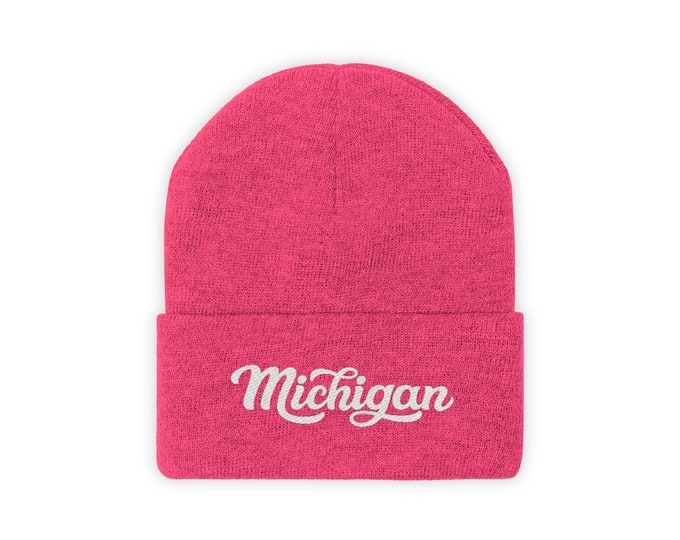 Embroidered Knit Hat - Michigan (cursive)