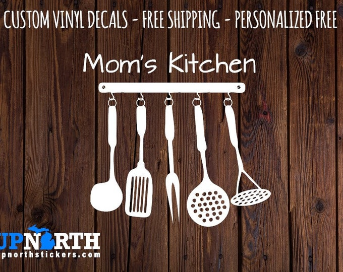 Kitchen Utensils - Personalized - Kitchen  Vinyl Wall Decal - Multiple Sizes and Colors -  Optional Free Customization