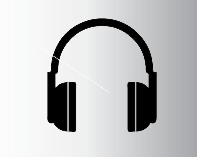 Head Phones - Headphones - Ear Phones - Custom Vinyl Decal - Personalize it for FREE