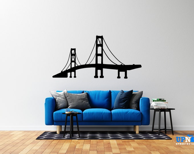 Mackinac Bridge - Vinyl Wall Decal or Vehicle Decal - Multiple Sizes and Colors - Personalize for Free