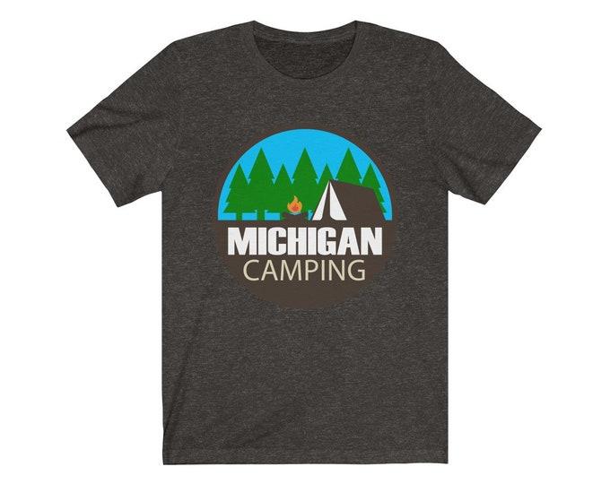 UpNorth Tee - MICHIGAN CAMPING (circle) - Michigan Camping T-shirt - Free Shipping