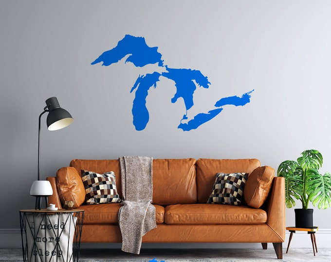 Great Lakes - Vinyl Wall Decal - Multiple Sizes and Colors - Personalize for Free - Free Shipping