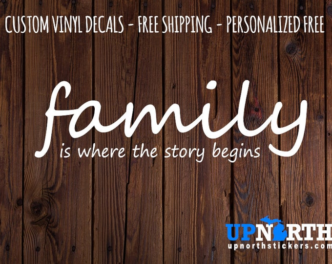 Family is where the Story Begins - Custom Vinyl Wall Decal - Multiple Sizes and Colors - Free Shipping