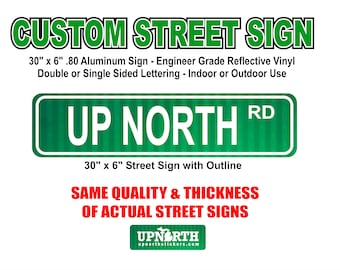 30 in x 6 in Custom Street Sign - .80 Aluminum with Engineer Grade Reflective Vinyl - Single or Double Sided