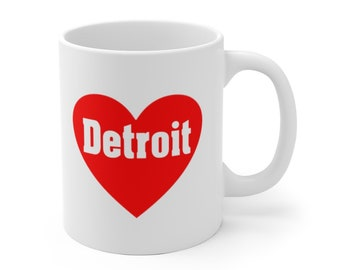 Ceramic Mug - Love Detroit Heart  - Detroit Michigan - Coffee Cup