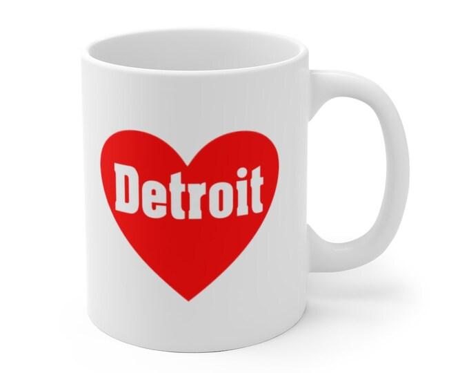 Ceramic Mug - Love Detroit Heart  - Detroit Michigan - Coffee Cup