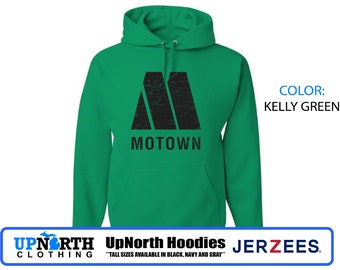 UpNorth Hoodies - Motown Detroit - Vintage Print -  Motown Hoodie - Hooded Pullover Sweatshirt - Tall Sizes Available