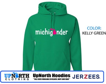 UpNorth Hoodie - Michigander (pink/white)  - Michigan Hooded Sweatshirt