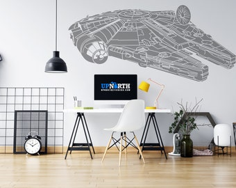 Millenium Falcon Ship - Custom Vinyl Wall or Vehicle Decal - Multiple Colors and Sizes - Personalize for Free - Free Shipping
