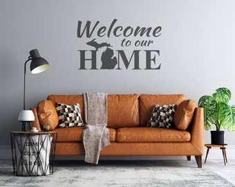 Welcome to Our Home - Michigan Mitten - Custom Vinyl Wall Decal - Personalize for Free - Free Shipping - Michigan Wall Decal