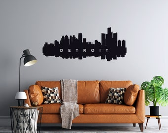 Detroit Skyline Reflection - Vinyl Wall Decal - Multiple Sizes and Colors - Personalize it for Free