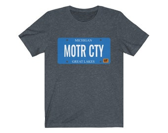 UpNorth Tee - MOTR CTY - Michigan license plate - Detroit Michigan Shirt - Free Shipping