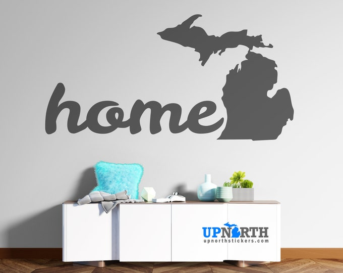 Michigan Home - Cursive Text - Custom Vinyl Wall or Vehicle Decal - Personalize Free - Free Shipping