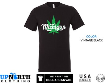UpNorth Tee - Michigan Marijuana Leaf - Michigan T-Shirt - Free Shipping